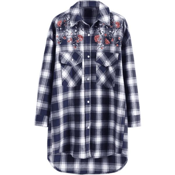 Sequined Floral Patched Checked Shirt ($27) ❤ liked on Polyvore featuring tops, zaful, floral print tops, shirt top, sequin embellished top, checkered top and check pattern shirt