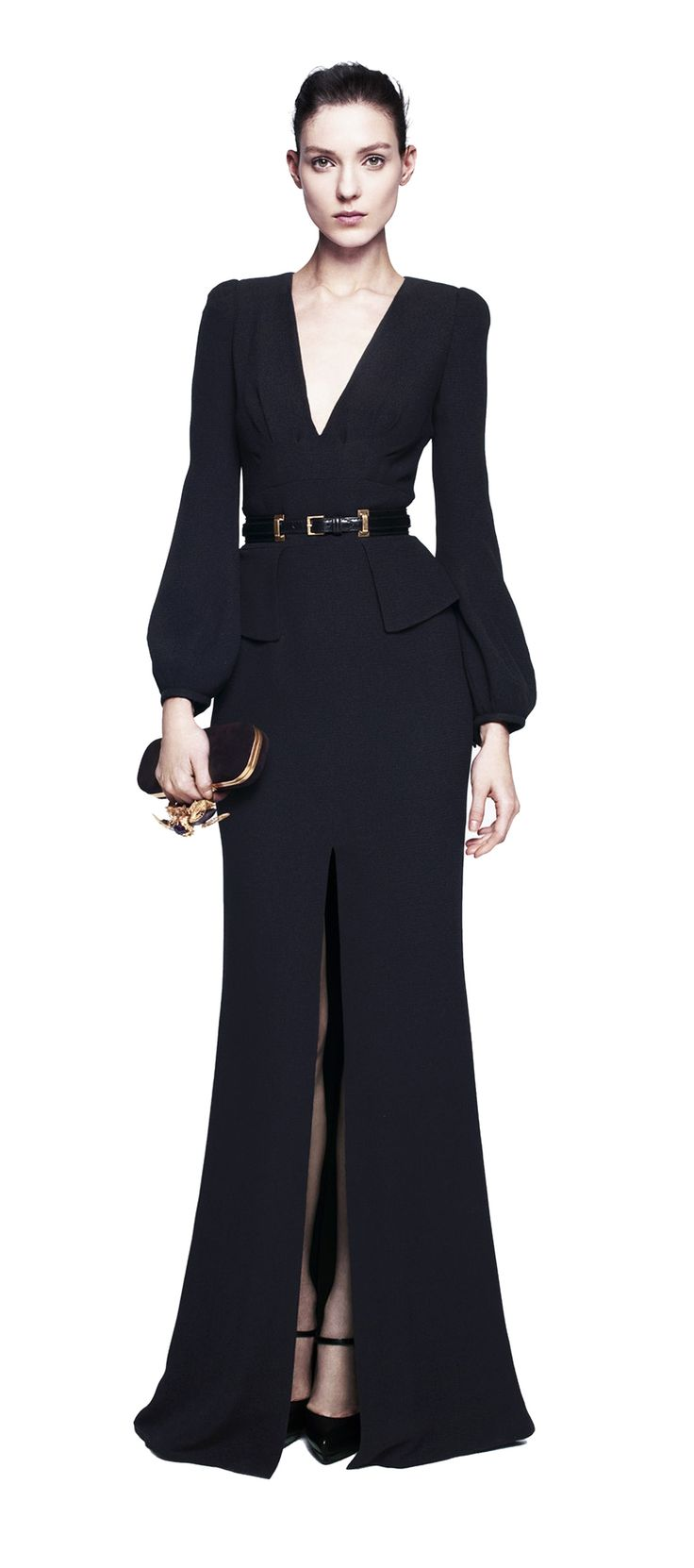 Alexander McQueen | Bell-Sleeve Black Crepe Wool Floor Lenght Gown with deep v-neck, trompe l'oeil belt and central tigh-high slit