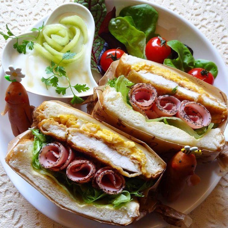 #サンドイッチ #チキンカツサンド レタス#パストラミハム 鶏ささみの#カツレツ #スクランブルエッグ のサンド #ウインナー #ソーセー人 #ヨーグルト…