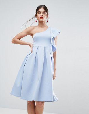ASOS Ruffle One Shoulder Scuba Midi Dress