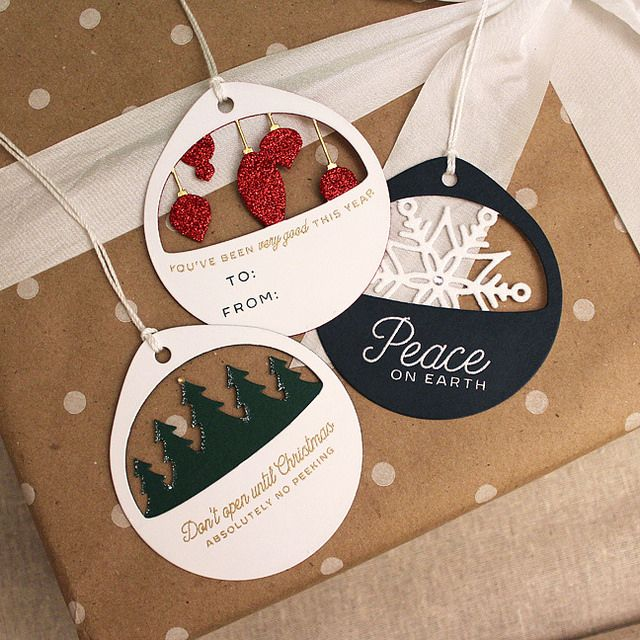 Layered Christmas Cuts Tag Trio by Lizzie Jones for Papertrey Ink (October 2016)