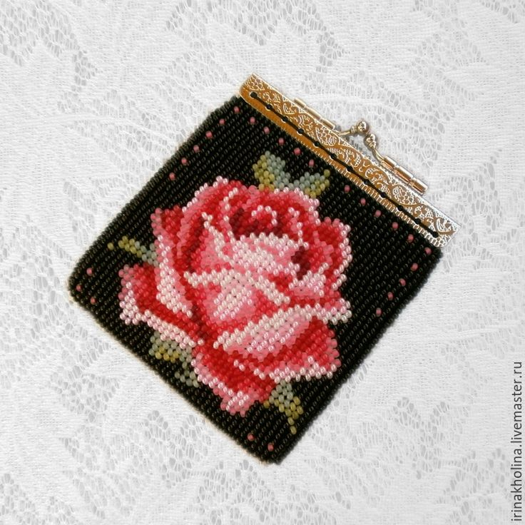 Купить Кошелек ( монетница ) из бисера Роза - монетница, кошелек, кошелек женский