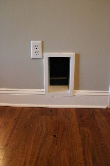 Cat Door to an Outdoor Litter Box in well ventilated rain resistant structure against the house.
