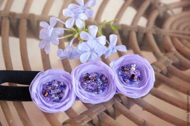 """Купить Повязочка для волос """"Сиреневые цветочки"""" - сиреневый, сиреневые цветы, повязка с цветком, повязка на голову"""