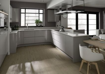Grey gloss kitchen in a contemporary 'J Pull' Handleless style. Remo door from Second Nature kitchens