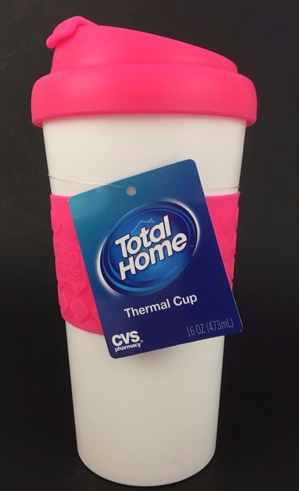 Thermal Insulated Cup Coffee Plastic Travel Mug 16 Oz Takeaway Lid White Pink #TotalHomebyCVS