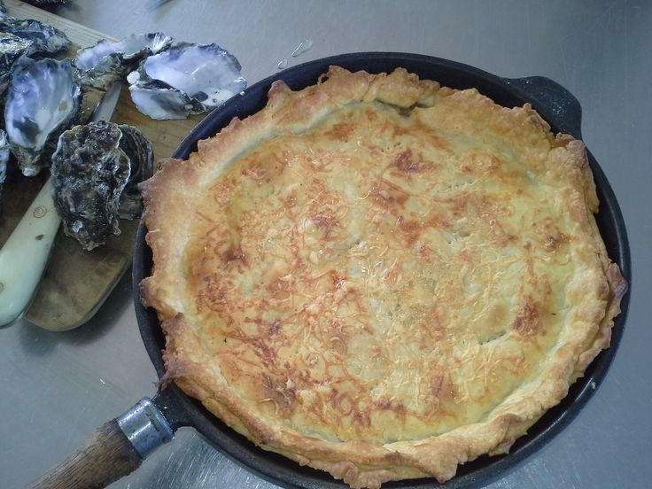 Today's lunch. Delicious oyster pie, full off Mahurangi Oysters, green pepper corns, artichokes with a  cheesy homemade short pastry .