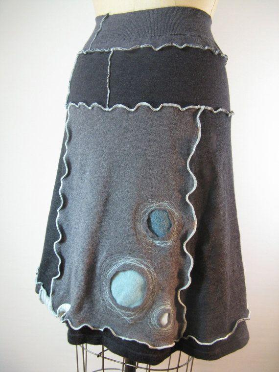 Three Aqua Spheres Upcycled Skirt by devilmademedoit, I LOVE, LOVE, LOVE this!!!