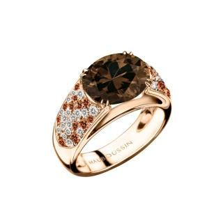 Plaisir d'Amour Ring  Plaisir d'Amour ring, 18Kt pink gold, Smoky Quartz (3,3ct), orange sapphires and diamond pavé