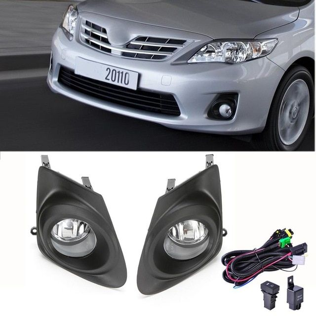 For 2011 2013 Toyota Corolla Clear Bumper Fog Lights Lamps Cover