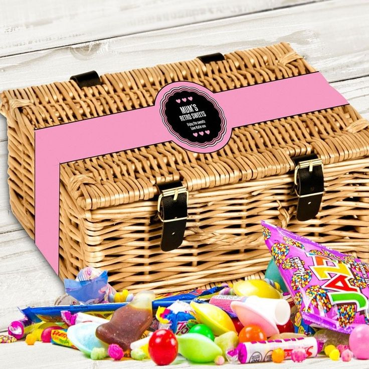 Personalised Mums Retro Sweets Hamper Gift Basket Mothers Day New