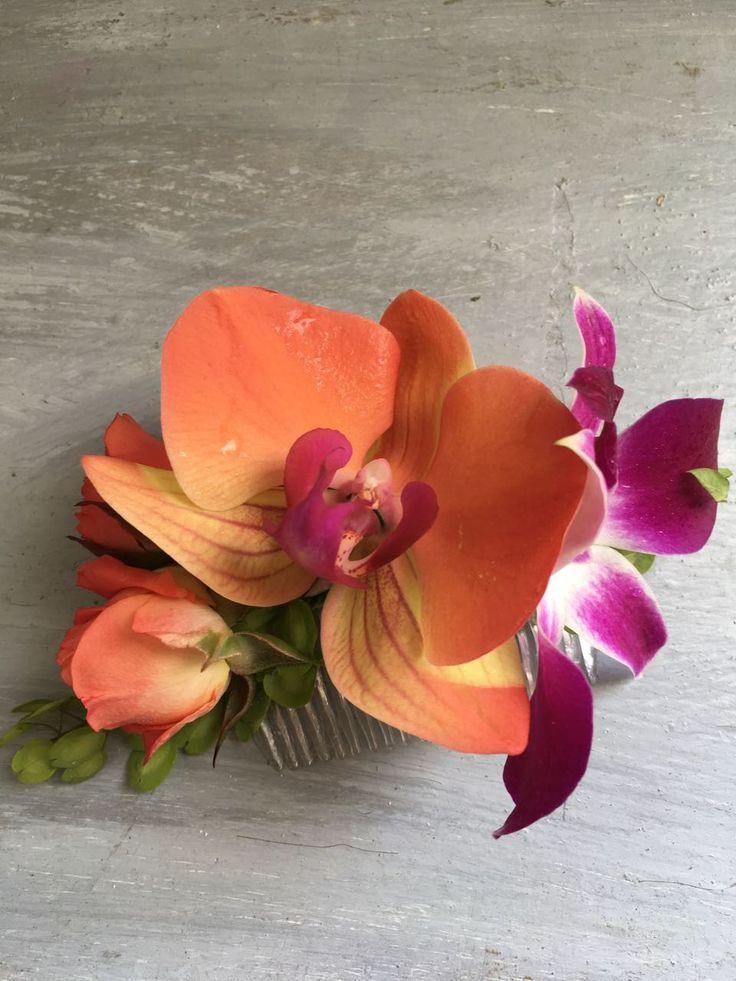 CBP195 wedding Riviera Maya Orange an purple flower for comb/ peineta con flores naranjas y moradas