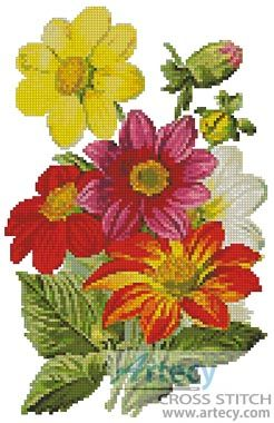 Artecy Cross Stitch. Single Dahlia Orchid Cross Stitch Pattern to print online.