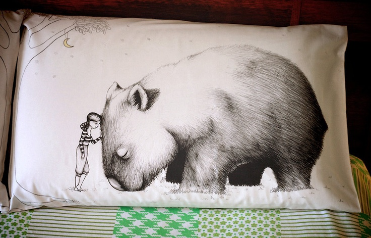 Wombat Pillowcase facing left Printed animal by flossyparticles, $30.00