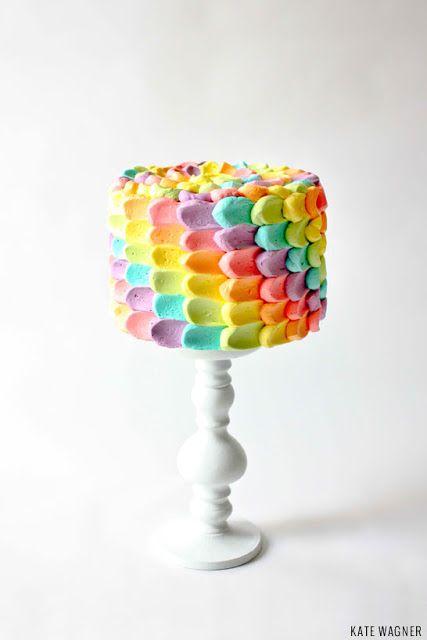 Tutorial  recipe: Beautiful Rainbow Petal Cake by Kate Wagner of The Greedy Baker