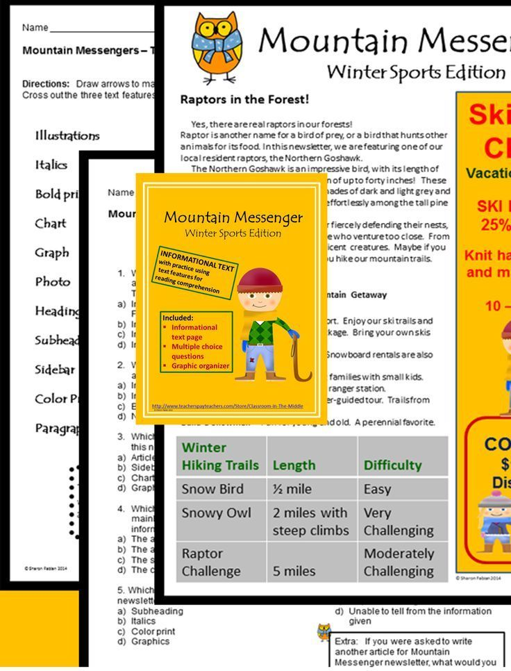 This informational text resource includes one page of winter sports themed informational text in the form of a newsletter, along with one page of multiple choice, text dependent questions and a graphic organizer. The questions and the activity are about text features of the informational text as well as general reading comprehension of the non-fiction articles in the newsletter.