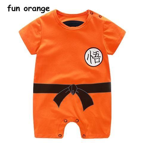fc67c157067a Fun Orange Summer Baby Clothing Cotton Jumpsuit Cartoon Short Sleeve ...