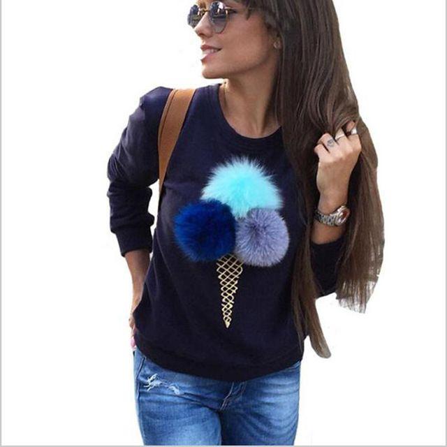 Female autumn women's cute sweet swetshirts long sleeve warm hoody 3D plush ball ice cream printing hoody capless women hoodies #Brand #Nhwieng #sweaters #women_clothing #stylish_dresses #style #fashion