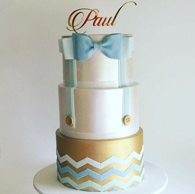 Boys bow tie christening cake