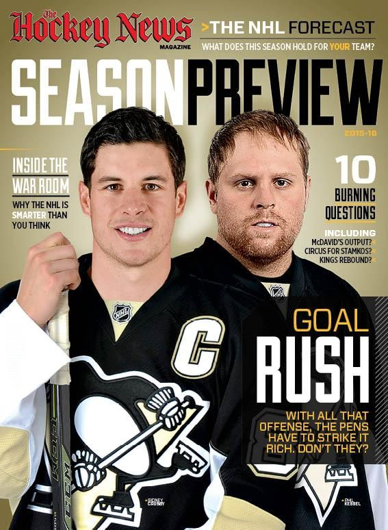 The Hockey News' 2015-16 NHL Season Preview, featuring the Penguins' Sidney Crosby and Phil Kessel on the cover.