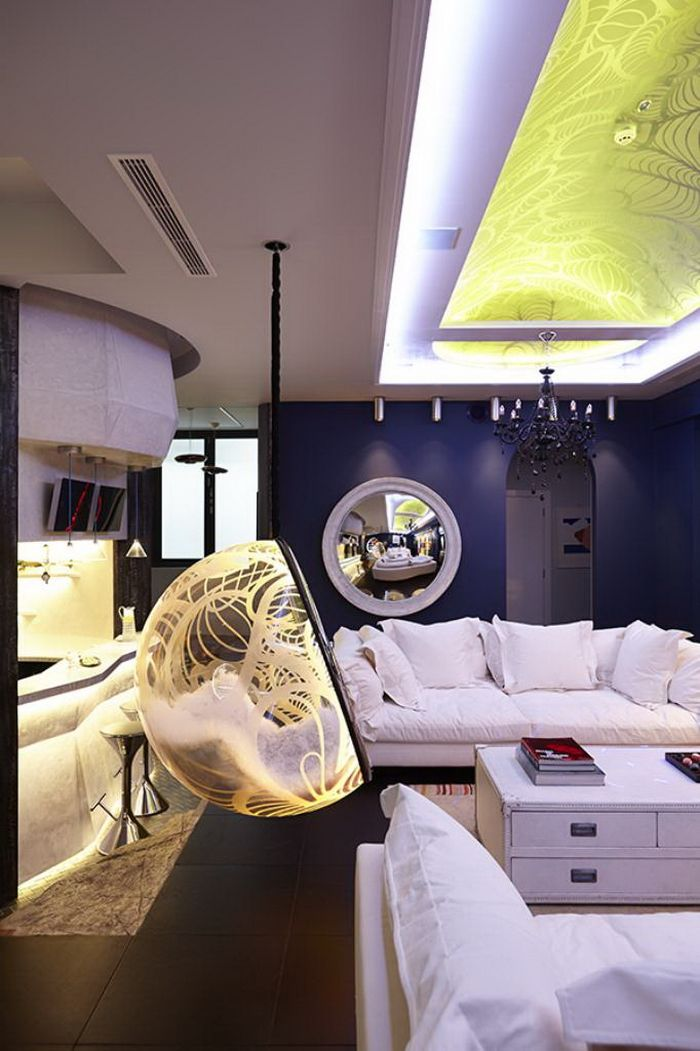 Home Design, Luxurious Modern Lounge Room With Yellow Glow Bubble Chair And  Black Unique Pendant
