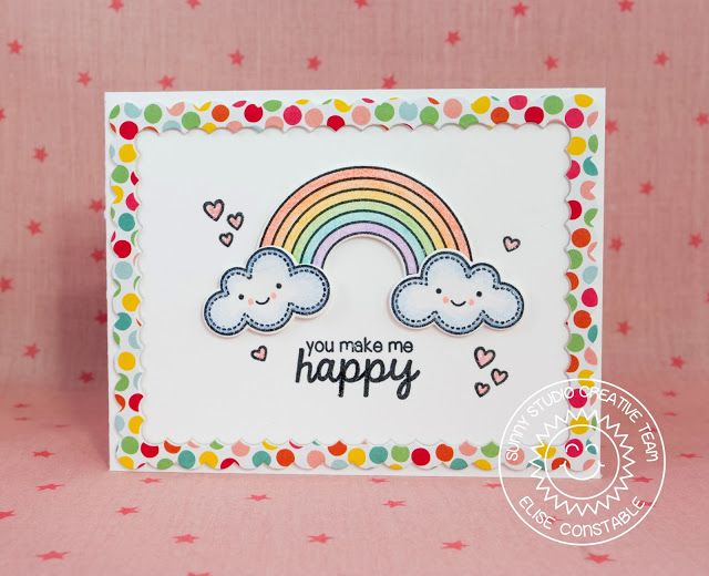 Sunny Studio Stamps: Rain or Shine You Make Me Happy Rainbow Card by Elise Constable.