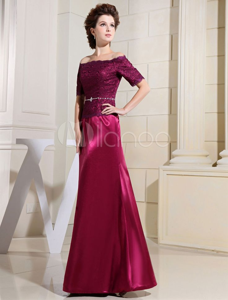 Bateau Mother Of The Bride Dresses Lace A-Line Floor Length Evening Dress With Rhinestone Sash