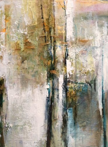"""Daily Painters Abstract Gallery: Abstract Mixed Media Painting """"Golden Awareness"""" by Intuitive Artist Joan Fullerton"""