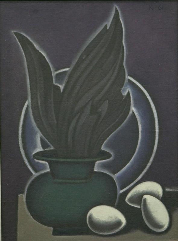 Дмитрий Краснопевцев (1925-1995) - Крыло птицы в вазе и три яйца. 1961 , 58Х43