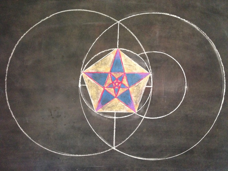 pentagon and pentagram star are born from a vesica piscis grade 6 geometric drawing