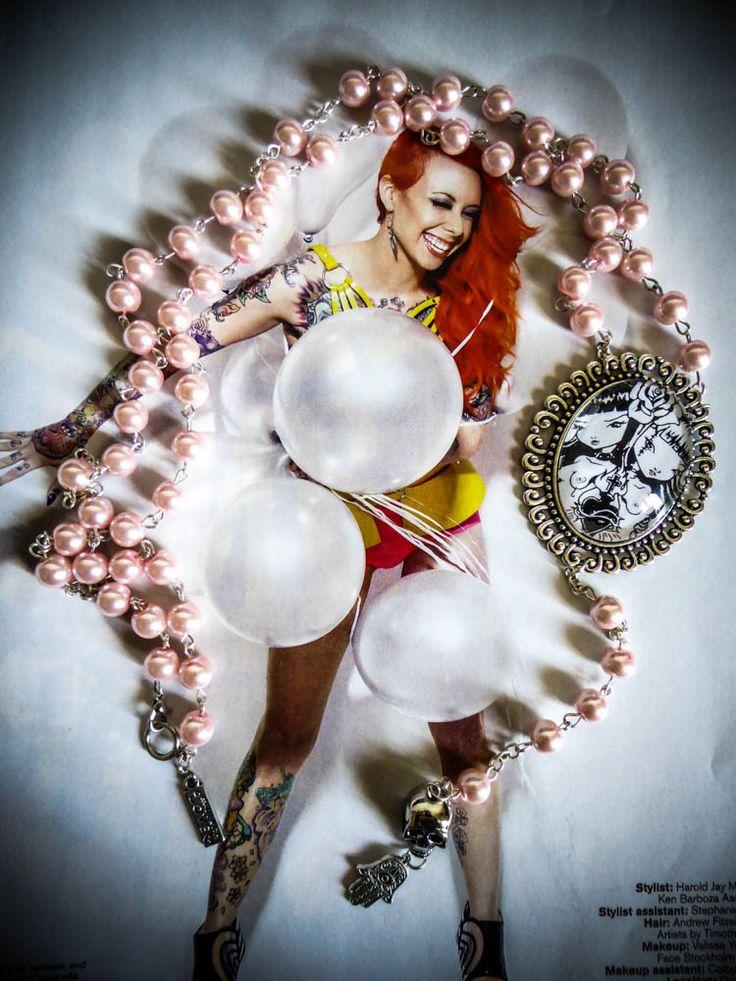 """Chapelet rosaire perles rose argenté cabochon femme gypsy bohème Tattoo Twin sisters """"WonderlandMC"""" : Collier par wonderlandmc"""