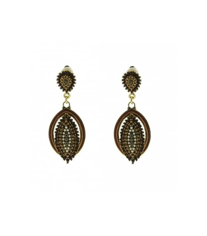 Mooie bruine oorclips met ovale hanger|Lengte van de oorclips is 6 cm|Oorclips koop je online | EAN: 0000100810011 | Oorclips van Behave