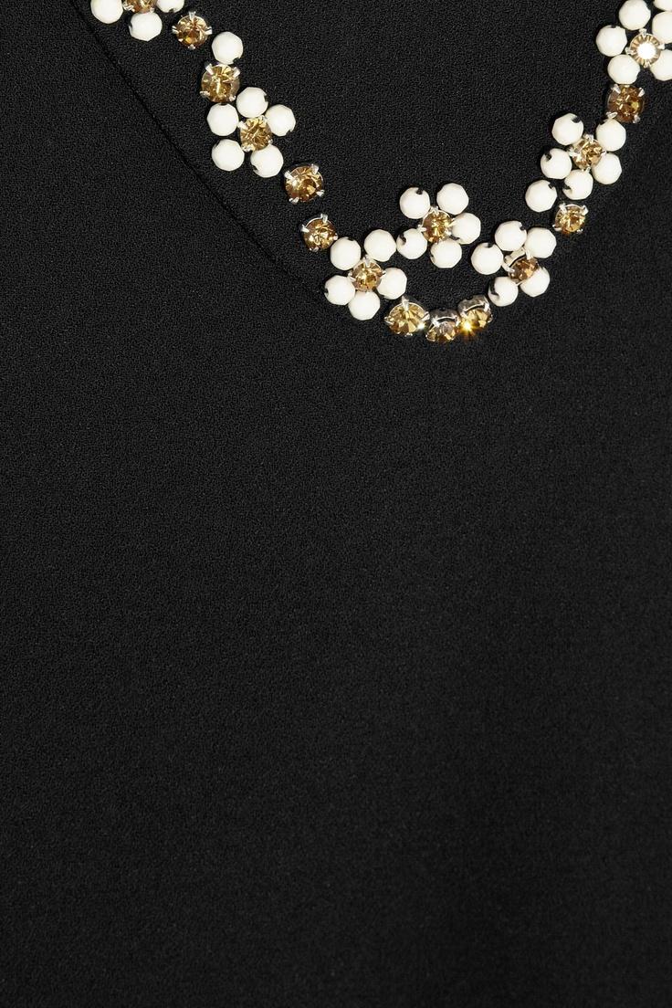 Miu Miu|Embellished stretch-crepe top|NET-A-PORTER.COM