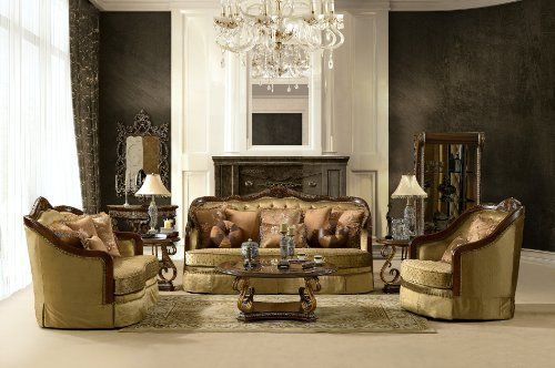 3 Pcs Traditional Victorian Style Sofa Set by Hollywood Decor. $3285.00. Detailed carving on the arms and base, 100% Hand Carved,Comfortable Seat Cushions. Collection Sofa Set includes Sofa, Loveseat, Chair w/ Luxurious Accent Pillows. This item can only be shipped to the 48 contiguous states. We regret it cannot be shipped to APO/FPO, Hawaii, Alaska, or Puerto Rico. Upgrade your living room with this luxury sofa set collection, Manufactured to the Highest Quality,Solid Wood. Cof...