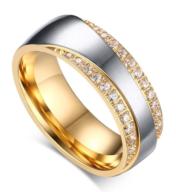 7mm Stainless Steel Gold Plated Two-tone Promise Rings for Couples, Wedding Bands for Men and Women *** Awesome product. Click the image : Gift for Guys