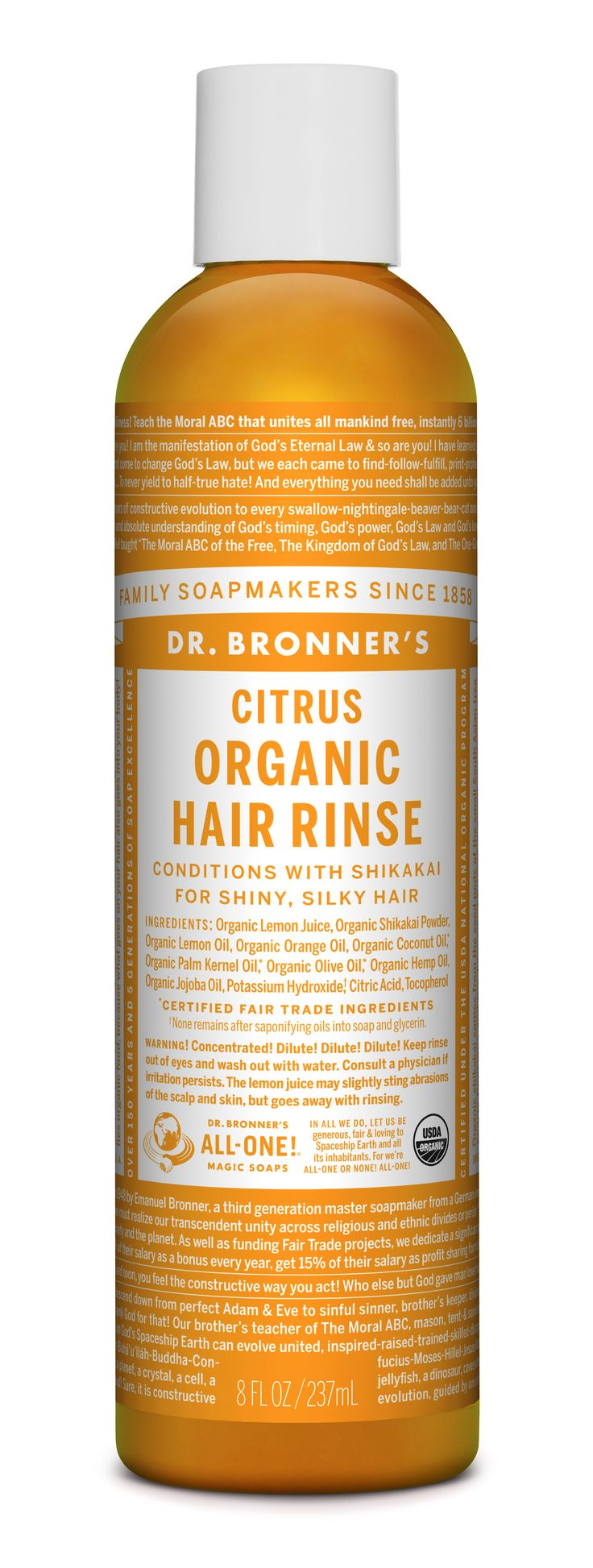 Use Dr. Bronner's Organic Hair Rinse as part of an organic hair care routine, together with any of our soaps! After shampooing with Dr. Bronner's soap, dilute Organic Hair Rinse in 1 cup water and pour it over hair. The citrus extracts in the rinse help to counteract the soap's alkalinity & tamp down the cuticles in your hair & leaving your hair manageable and smooth!