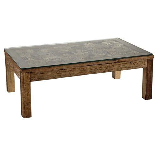 Tavolo basso in legno riciclato e vetro temperato L 120 cm