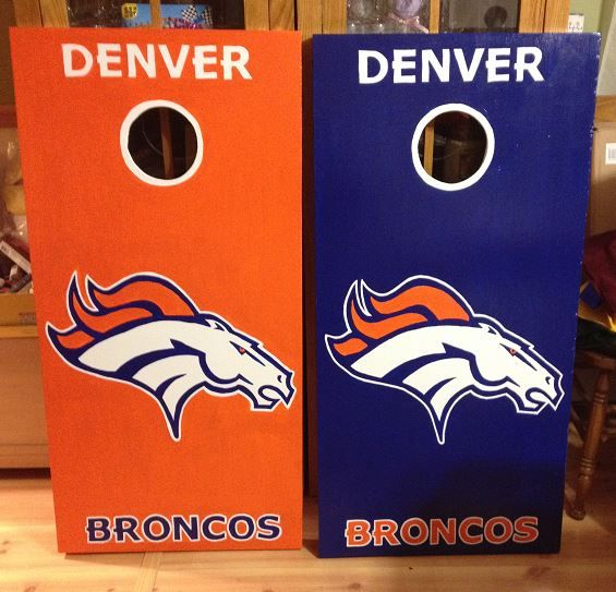 Denver Broncos Custom Made Corn hole Boards - These Cornhole boards are handcrafted, hand painted and custom made for each of our customers and meet the Cornhole Association specifications. Free set of cornhole bags are also provided for $169.99. They make great gifts for anyone for any occasion! We love custom orders and will make your team, theme or wedding. Contact us at www.fscustomcraftcreations.com