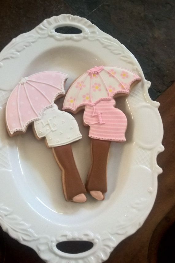 10 Pink Pregnant Lady with Umbrella Cookie Favors - for baby showers, new baby party