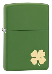 Moss Green Matte Zippo lighter with engraved four leaf clover.