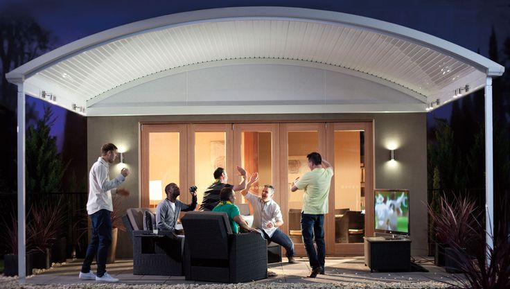The Stratco Outback Curved Roof Patio is a unique, sleek, curved roof patio design with a  contemporary flair, accentuated by its curved roof which arcs out above the veranda, transforming a drab under covered area into a luxury patio, carport or veranda. Give new life to your outdoor entertaining area with a curved roof patio from Stratco! new patio brisbane, luxury patio brisbane. ww.hats4houses.com.au