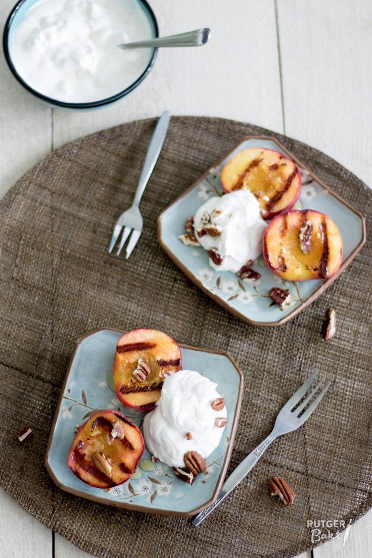 Gegrilde perziken met frisse mascarpone