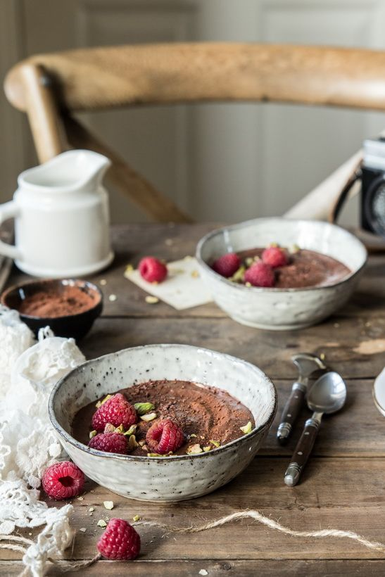 Raw chocolate pudding.Food photography and food styling.