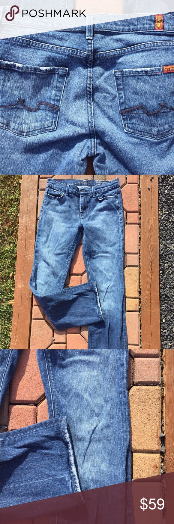 """7 For All Mankind High Waist Bootcut Jeans Size 30 Size 30. Inseam: 30"""". Super gently preowned. Has intended Distressed look on pockets and bottoms of legs. Be sure to view the other items in our closet. We offer both women's and Mens items in a variety of sizes. Bundle and save!! Thank you for viewing our item!! 7 For All Mankind Jeans Boot Cut"""