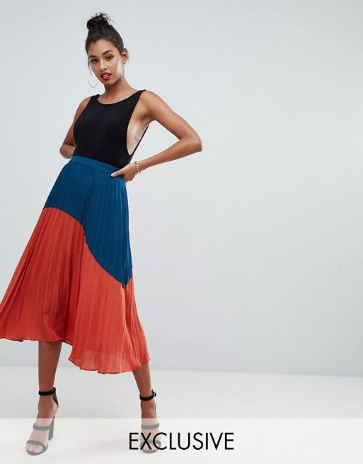 a80a6016d1 Boohoo exclusive color block pleated midi skirt in multi in 2019 ...