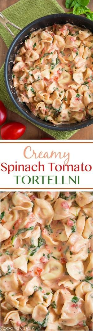 Creamy Spinach Tomato Tortellini - this tastes amazing and it's so easy to make! by tasha