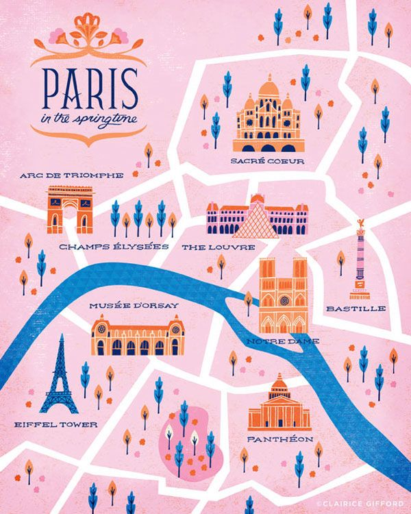 Paris Map Illustration - Clarice Gifford