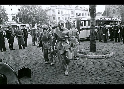 Air-raid precaution exercise in Flakhaven in Odense, 1940