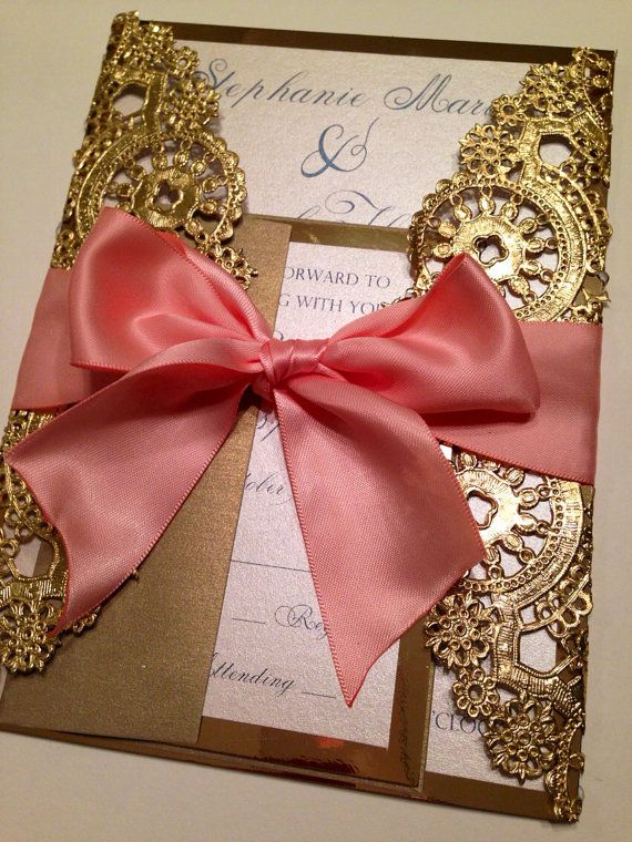 Metallic Doilies Wedding Invitation Suite with Ribbon Bow - Deposit to Start Ordering Process