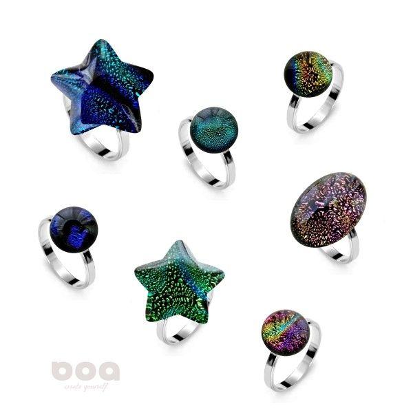 biżuteria srebro szkło pierścionki - kolekcja lśnienie